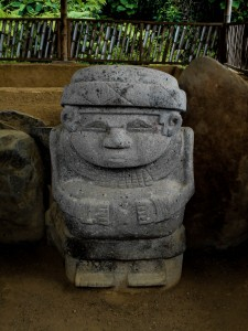 Pre-columbian statue of Queen Elizabeth while pooing