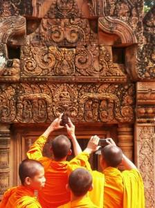 Monks among the ruins of Angkor Wat